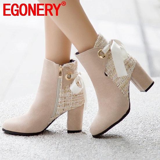 EGONERY Cute Woman Ankle Boots Bowtie Ribbon Women's Shoes Beige Wedding Booties