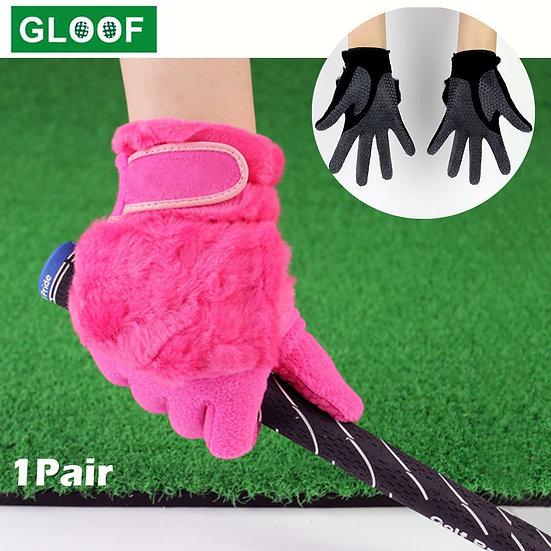1Pair Women Winter Golf Gloves Anti-Slip Artificial Rabbit Fur Warmth Fit