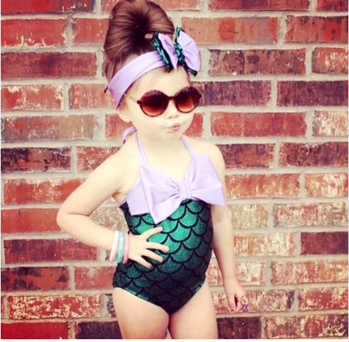 017 Character Dream Merman Kids Girl One-piece Suits Big Scales Swimwear Bikini