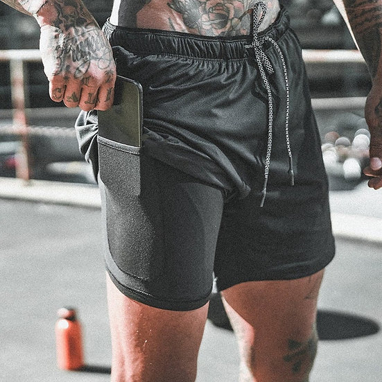 2020 NEW Men's Running Shorts Mens 2 in 1 Sports Shorts Male Double-Deck Quick