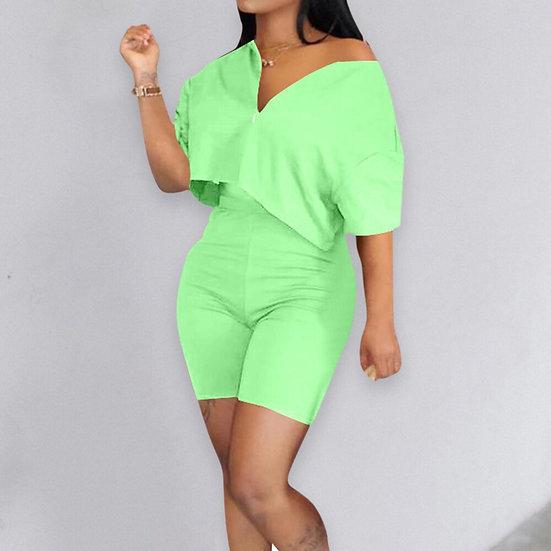 Fashion Casual Tracksuit 2 Piece Set Crop Top + Pants Short Sleeve Deep V-Neck
