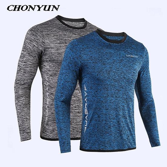 2021 New Running Shirt Men's Rashgard Long Sleeve Gym Shirt Sportswear