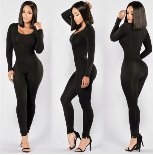 Long Sleeve O-Neck Long Pants Women Jumpsuits 2019 New Fashion Sexy Bodycon Jump
