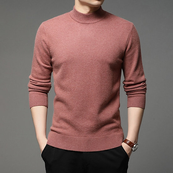 2020 Autumn and Winter New Men Turtleneck Pullover Sweater Fashion Solid Color