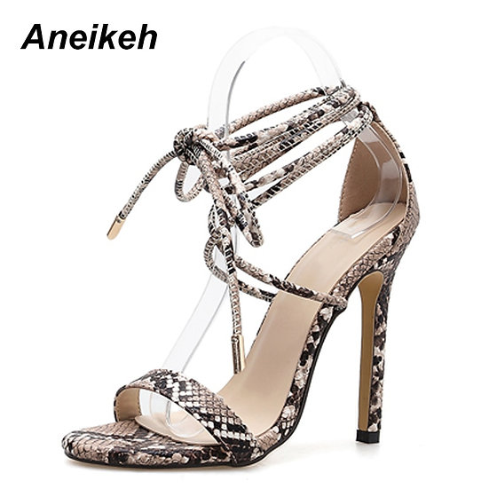 Aneikeh Fashion 2021NEW Summer Women's Sandals PU Lace-Up Thin High Cover Heel