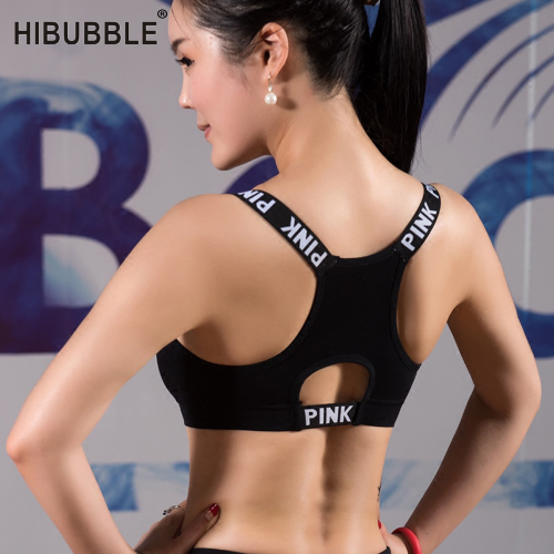 HIBUBBLE Women Sport Bra Top Black Padded Yoga Brassiere Fitness Sports Tank Top