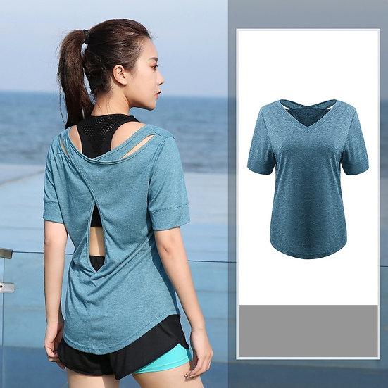 Plus Size  L-4xl Women Yoga Top Sport T-Shirt Yoga Crop Tops Yoga Shirts Short
