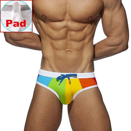 Gay Swimwear Men Push Up Rainbow Swim Briefs Trunks Mens Sexy Underwear Swimsuit