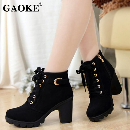Autumn Women Boots Ladies Thick Fur Ankle Boots Plus Size Women Pumps Women High
