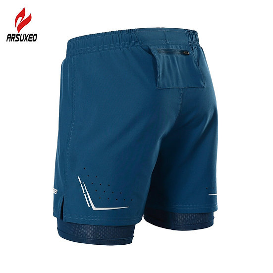 ARSUXEO 2 in 1 Men Running Shorts Reflective Quick Dry Compression Jogging Gym
