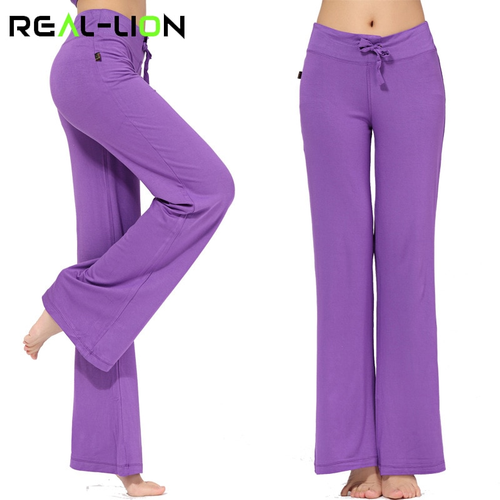 RealLion Wide Leg Sport Pants Women High Waist Stretch Bandage Flare Pants Broad
