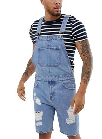 1 Puimentiua 2020 Fashion Plus Size Summer Men's Overalls Solid Color