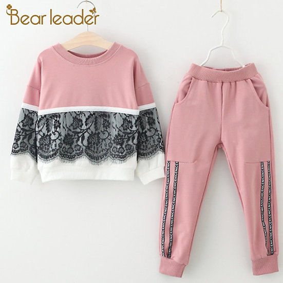 Bear Leader Girls Clothing Sets New Spring Active Girls Clothes Lace Children
