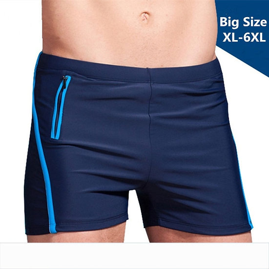 Plus Size Swimwear Men Swim Trunks Mens Swimming Shorts Zipper Pocket Swimsuit