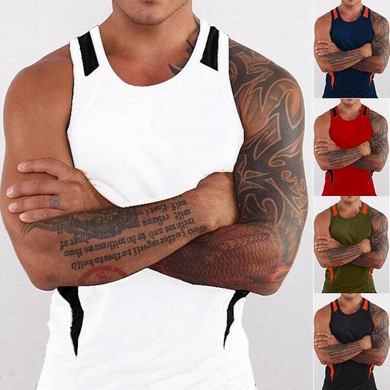 ZOGAA Summer Tank Top Men Sleeveless Undershirt Casual Patchwork O-Neck Vests