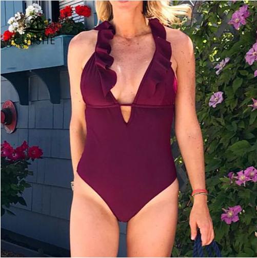 CUPSHE Burgundy Heart Attack Falbala One-piece Swimsuit Women Ruffle V-neck Mono