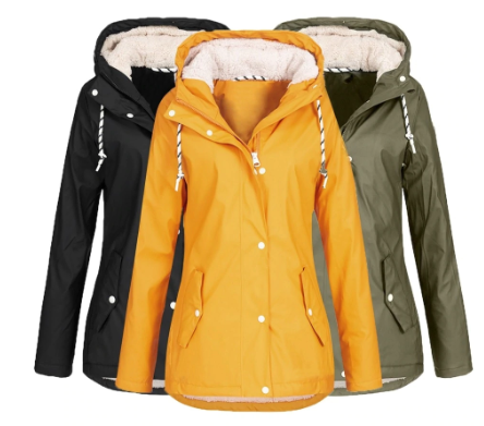 2019 women's jacket Solid Rain Jacket Winter Fleece Warm Hoodie women's parka Wa