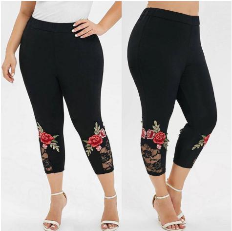 Fashion leggings women Plus Size flower Applique Lace Splice Solid Elastic Casua
