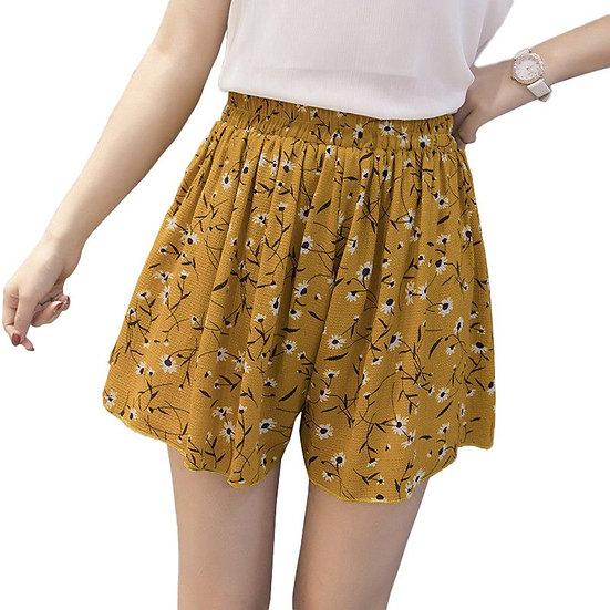 Loose Boho Floral Casual Women Chiffon Shorts Polka Dot Summer Holiday Shorts