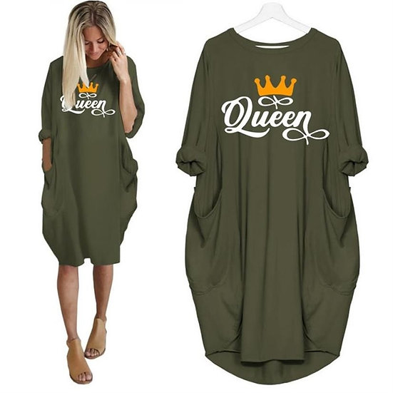 Fashion Queen Letters Print T-Shirt for Women Pocket Top Women Harajuku Tshirt