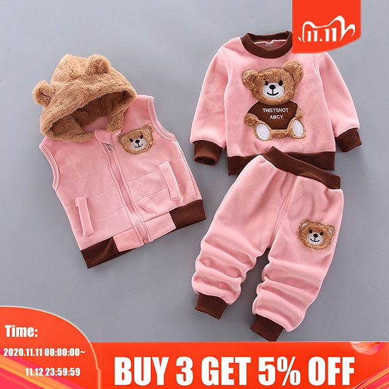 Winter Suit Cartoon Bear Baby Boy Clothe Toddler Girl Clothes  Suit 1 to 4 Years