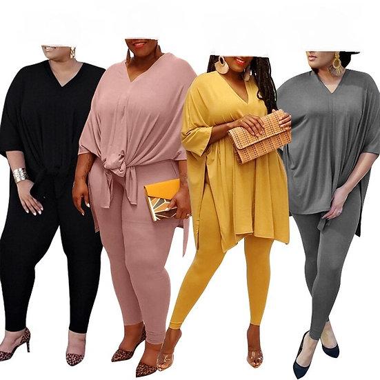 Women Plus Size S-5xl Split Side Loose Tee Tops Pants Suit Active Wear Tracksuit