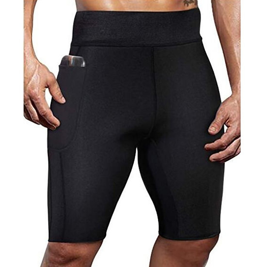 Gym Sauna Men's Tights Fitness Training High-Elastic Neoprene Compression Shorts