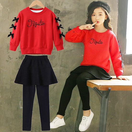 Girls Clothes Long Sleeve Shirt + Skirt Pants 2PCS Girl Kids 6 8 10 12 Year