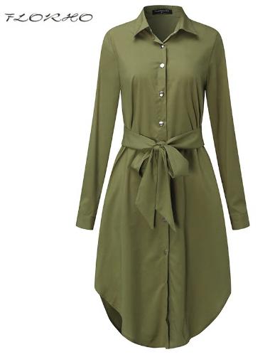 Autumn Belted Blouse Shirt Dress Women Solid Color Midi Female Dresses Long Slee