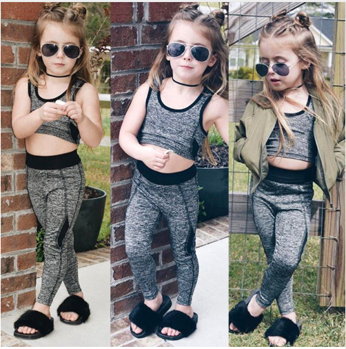 2018 New Baby Girls Yoga Tracksuit Elastic 0-6T Fit Baby Girls Yoga Set 2PCS Cro