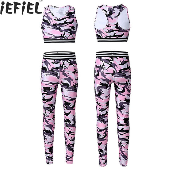 Kids Girls Clothes Tracksuit Outfit Camouflage Printed Tanks Bra Tops Crop Top