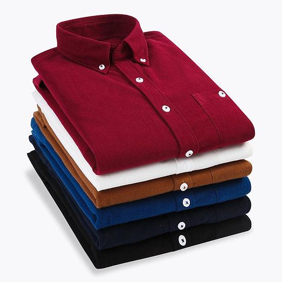 Autumn Winter Men Corduroy Shirt Slim Long Sleeved Button Collar Smart Casual
