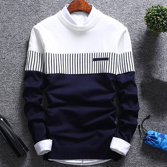 Autumn Winter New Knitted Sweater Men Long Sleeve Striped Sweaters Solid Slim