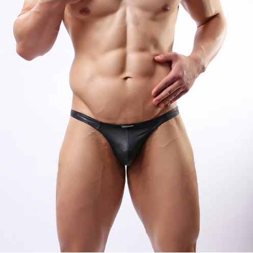 Sexy Lingerie Men's Underwear Faux Leather Black G-string Thongs Underpants S-XX