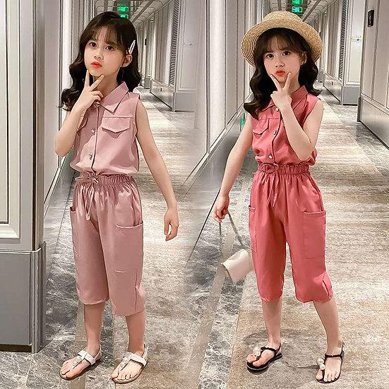 Summer Baby Girls Clothes Sets Sleeveless T-Shirt + Pants 2PCS Fashion Children