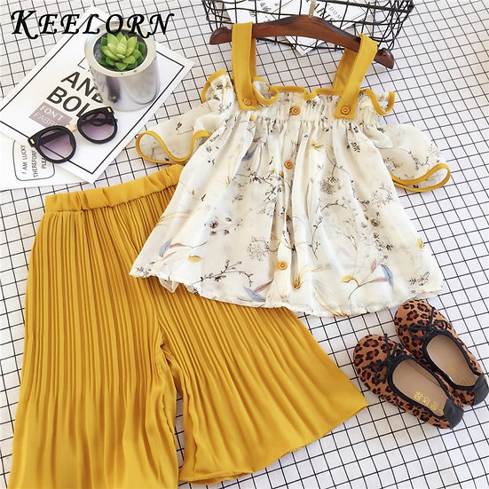 Keelorn Girls Clothing Sets Summer Kids Lovely Sweet Streetwear Outfits Splicing