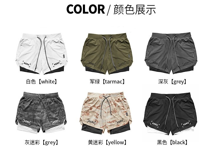 2020 Mens 2 in 1 Fitness Running Shorts Men Sports Shorts Camouflage Quick Dryin