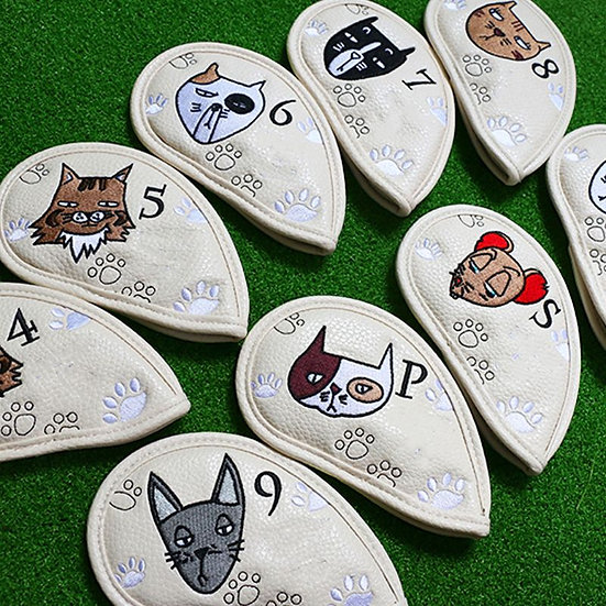 9 Pcs Portable Golf Club Headcovers Cute Cartoon Cat Pattern PU Waterproof Cover
