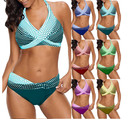 Women Dots Print Bathing Suit Push-up Beach Swimsuit Backless Sexy Bikini 2020 S