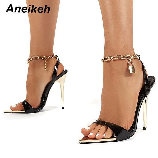 Aneikeh 2021 Summer Thin High Heels Women's Shoes Fashion Sexy Metal Decoratio