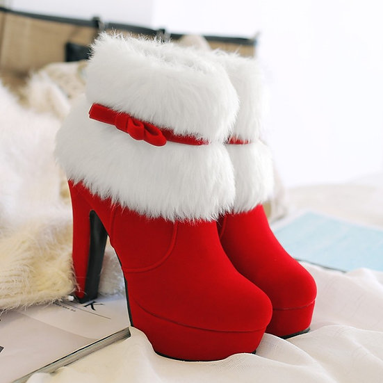 Women Ankle Boots Christmas High Heels Platform Shoes Femme Winter Warm Fur
