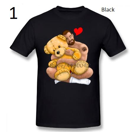 Bear Hug Slim Fit T Shirt Men Gay Bear Art Pride Grrr LGBT Short Sleeve Clothes