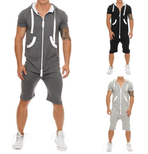 NIBESSER 2019 Summer Casual Tracksuit Jumpsuit Mens Overalls Short Sleeve Sweats