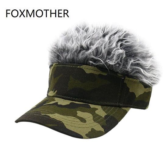 FOXMOTHER Men Women Camouflage Fake Flair Hair Baseball Cap Camo Sun Visor Fun