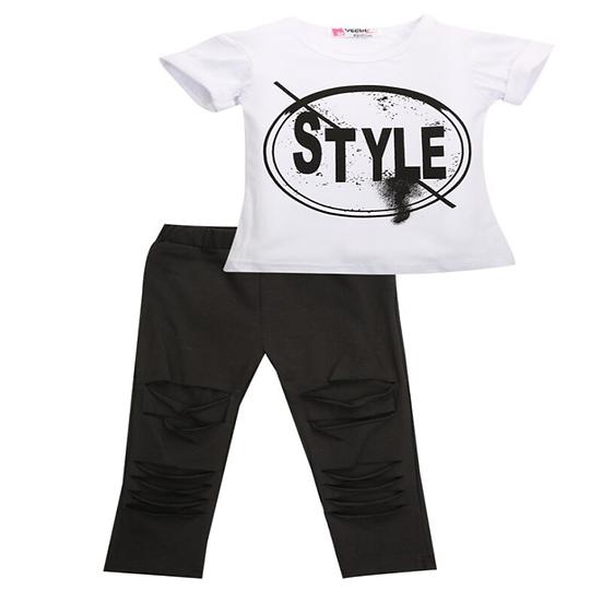 2016 Kids Girls Clothes Set Baby Girl Summer Short Sleeve Print T-Shirt + Hole