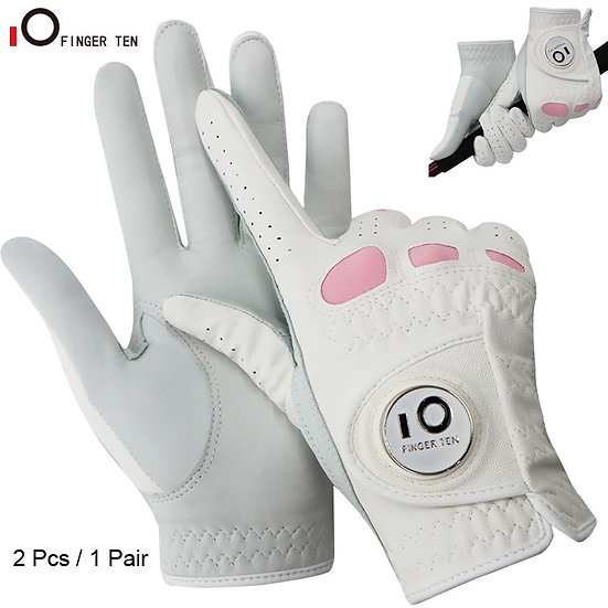 2 Pack or 1 Pair Cabretta Leather Womens Golf Gloves With Ball Marker Left Right