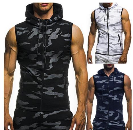 New Men Bodybuilding Tank Tops Gyms Fitness Workout Sleeveless Hoodies Man Casua
