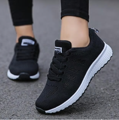 Fast delivery Women casual shoes fashion breathable Walking mesh lace up flat sh