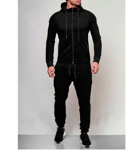 New Men's Autumn Hoodies Tracksuit Set Male Zipper Pleated Sweatshirt Sweat