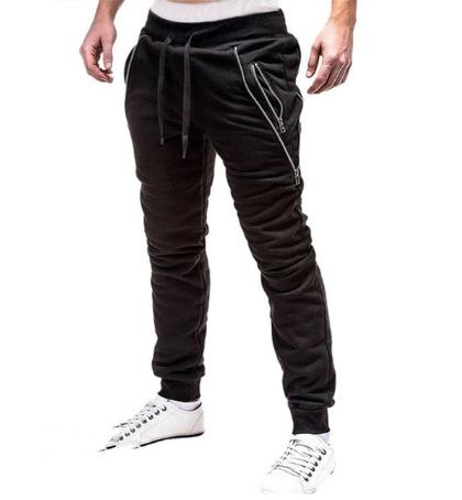 New Casual Pants Men Solid Mid Waist Streetwear Trousers Men Zipper Pockets Full